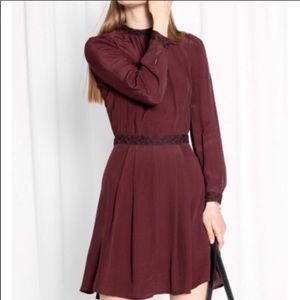 & Other Stories embroidered long sleeve dress